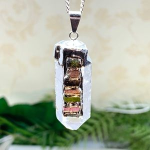 Terminated Point Crystal 7 Chakra Pendant